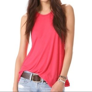 Free People Neon Pink Ribbed Tank Top
